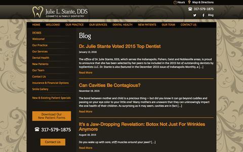 Screenshot of Blog juliestantedds.com - Julie Stante DDSBlog Archives | Julie Stante DDS - captured Jan. 23, 2016