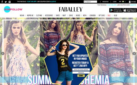 Screenshot of Home Page faballey.com - Women Online Shopping, Online Fashion Store |FabAlley.com - captured July 4, 2016