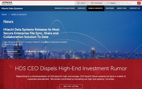 Screenshot of Press Page hds.com - HDS: Latest News - Hitachi Data Systems - captured Sept. 17, 2016