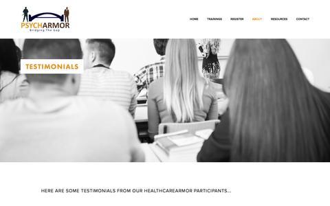 Screenshot of Testimonials Page psycharmor.org - Testimonials — PsychArmor - captured Oct. 3, 2014
