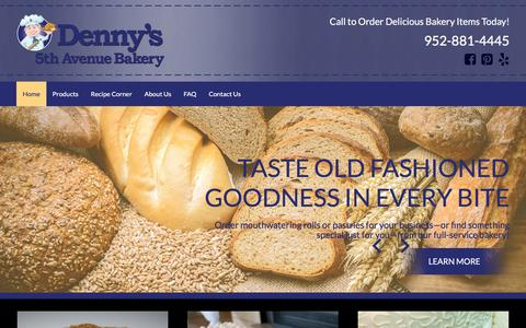 Screenshot of Home Page dennysbakery.com - Satisfy Your Cravings at Minneapolis, MN's Most Delectable Bakery! - captured April 19, 2016