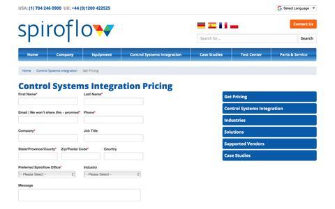 Screenshot of Pricing Page spiroflow.com - Control Systems Integration   Pricing - captured Oct. 14, 2017