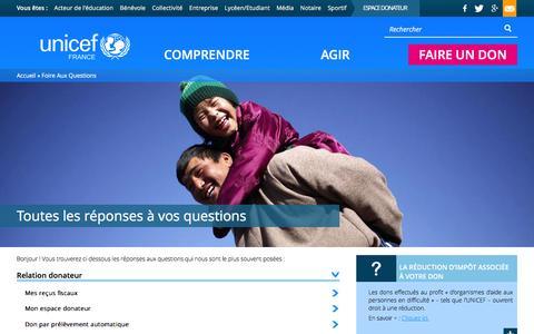 Screenshot of FAQ Page unicef.fr - Toutes les rŽponses ˆ vos questions | UNICEF France - captured Jan. 17, 2016