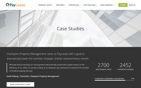 Screenshot of Case Studies Page paylease.com - Case Studies | PayLease - captured March 29, 2016