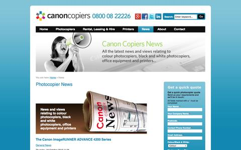 Screenshot of Press Page canoncopiers.co.uk - Canon Photocopier News - captured Sept. 30, 2014
