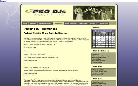 Screenshot of Testimonials Page prodjsportland.com - Portland DJ Testimonials - PRO DJs - captured Sept. 26, 2014