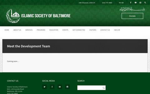 Screenshot of Developers Page isb.org - Meet the Development Team – Islamic Society of Baltimore - captured June 29, 2018
