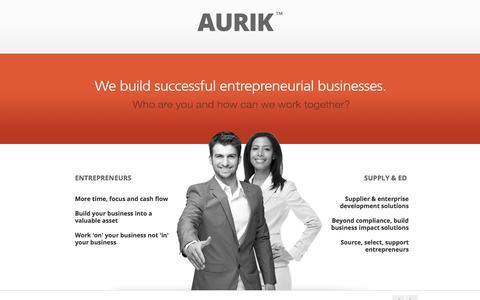 Screenshot of Home Page Site Map Page aurik.co.za - Aurik - People, Ideas, Action - We build successful entrepreneurial businesses. - captured Sept. 23, 2014
