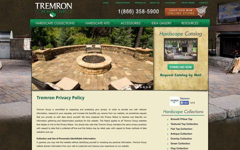 Screenshot of Privacy Page tremron.com - Tremron Privacy Policy | Tremron Jacksonville Pavers, Retaining Walls, Fire Pits | Atlanta, Miami, Orlando, Tampa, Florida Paver Manufacturer - captured Sept. 23, 2014