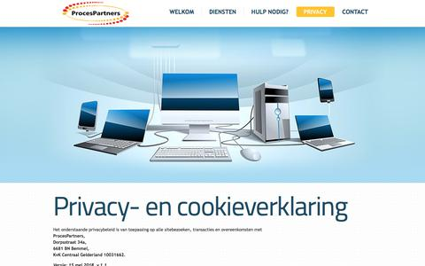Screenshot of Privacy Page procespartners.nl - Privacy- en cookieverklaring - captured July 23, 2018