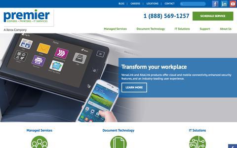 Screenshot of Home Page premier-iowa.com - Premier Iowa   Copiers, Printers, IT Services - captured Sept. 29, 2018