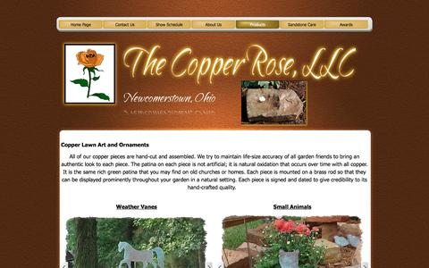 Screenshot of Products Page thecopperrose.net - Copper Lawn Art and Ornaments - The Copper Rose, LLC - captured June 18, 2016