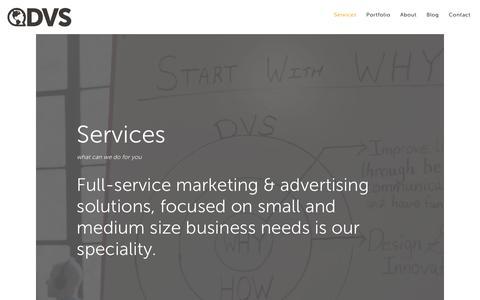 Screenshot of Services Page dvs.com - Services | DVS Marketing & Advertising Agency | Grand Rapids, MI - captured Oct. 7, 2018