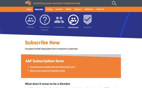 Screenshot of Signup Page aaf.edu.au - Australian Access Federation - captured Nov. 21, 2016