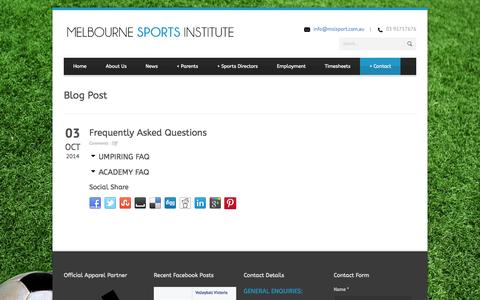 Screenshot of FAQ Page msisport.com.au - Frequently Asked Questions | Melbourne Sports Institute - captured Nov. 1, 2014