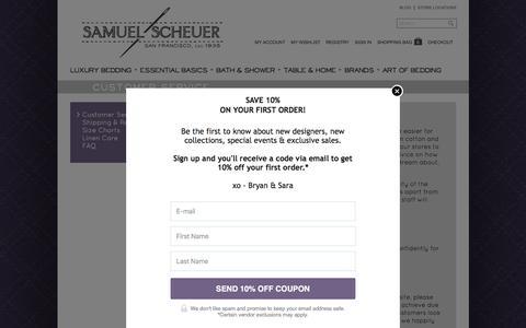 Screenshot of Support Page scheuerlinens.com - Customer Service - captured Feb. 4, 2016