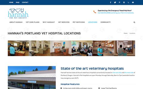 Screenshot of Locations Page hannahsociety.com - Locations   Hannah The Pet Society - Portland Veterinary Clinics, Pet Hospitals, and Behavior Training Centers - captured Oct. 24, 2017