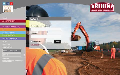 Screenshot of Login Page breheny.co.uk - Log In - Breheny Civil Engineering - captured Oct. 11, 2017