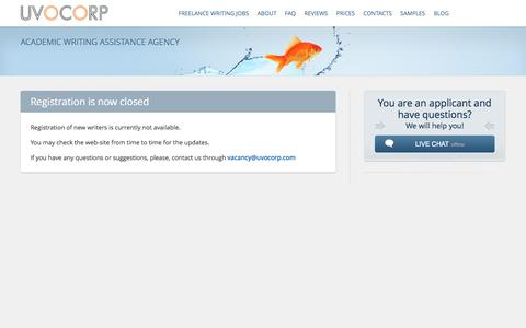 Screenshot of Signup Page uvocorp.com - Become a writer and earn money at Uvocorp.com - captured Sept. 24, 2014
