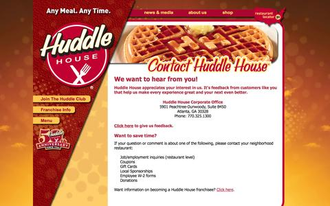 Screenshot of Contact Page huddlehouse.com - Huddle House - Contact Us Any Time - captured Sept. 30, 2014