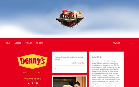 Screenshot of Blog dennys.com - Denny's Diner - captured Dec. 29, 2016