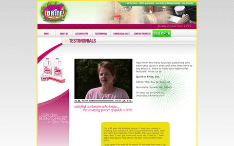 Screenshot of Testimonials Page quicknbrite.com - Quick N Brite | Household Cleaner | Stain Remover - captured Sept. 30, 2014