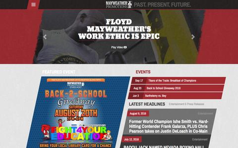 Screenshot of Home Page mayweatherpromotions.com - Mayweather Promotions – Past, Present, & Future Of Sports and Entertainment - captured Aug. 10, 2016