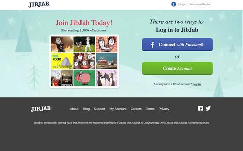 Screenshot of Signup Page jibjab.com - JibJab.com - Holiday eCards, Christmas eCards, Birthdays, Music Videos, and more - captured Dec. 8, 2016