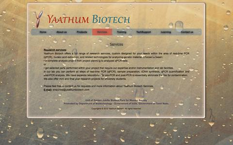 Screenshot of Services Page yaathumbiotech.com - Yaathum Biotech - Services - captured Oct. 4, 2014