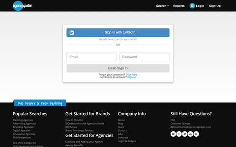 Screenshot of Login Page agencyspotter.com - Sign In To Search Agencies - Agency Spotter - captured May 9, 2017