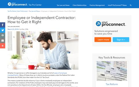 Screenshot of Press Page intuit.com - Employee or Independent Contractor: How to Get it Right | Tax Pro Center | Intuit ProConnect - captured Nov. 21, 2019