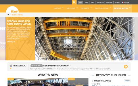 Screenshot of Press Page iter.org - ITER - the way to new energy - captured Nov. 25, 2016