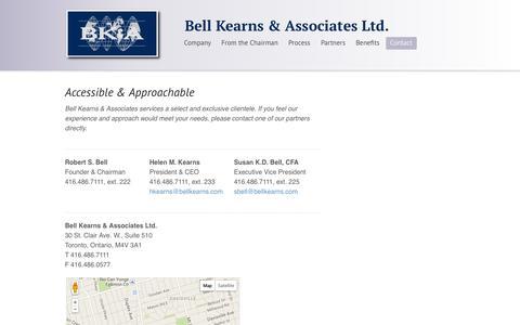 Screenshot of Contact Page Maps & Directions Page bellkearns.com - Bell Kearns & Associates Ltd.     Contact Bell Kearns & Associates - captured Oct. 23, 2014