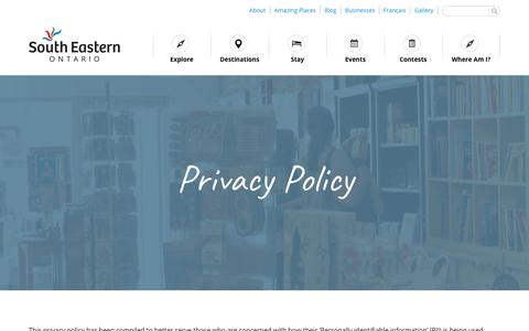 Screenshot of Privacy Page thegreatwaterway.com - Privacy Policy - South Eastern Ontario - captured Oct. 18, 2018
