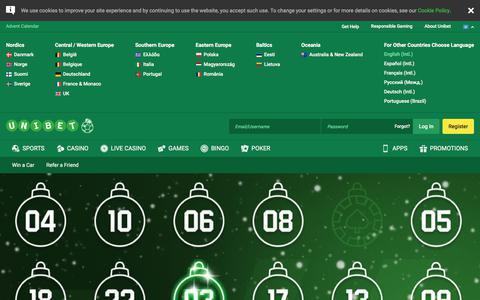 Screenshot of unibet.com - Advent Calendar - captured Dec. 3, 2017