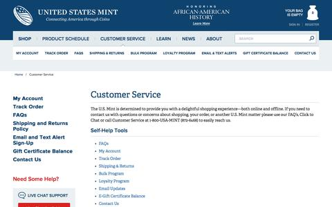 Screenshot of Support Page usmint.gov - Customer Service - Official US Mint Store - captured Feb. 2, 2020