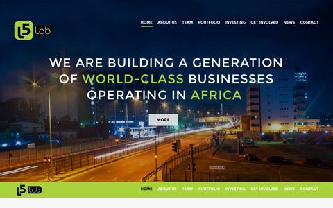 Screenshot of About Page Contact Page Team Page l5lab.com - L5Lab | We are building a generation of World-class businesses operating in Africa. - captured Sept. 26, 2014
