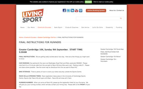 Screenshot of FAQ Page livingsport.co.uk - Frequently Asked Questions -Greater Cambridge 10k - captured Dec. 7, 2018