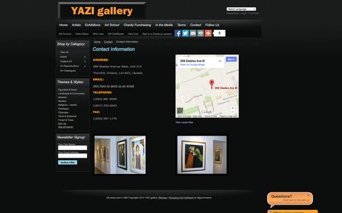 Screenshot of Contact Page yazigallery.com - Contact Information - YAZI gallery - captured Oct. 3, 2014
