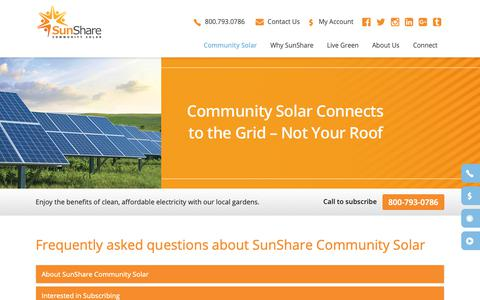 Screenshot of FAQ Page mysunshare.com - FAQ - SunShare Community Solar Gardens | Community Solar Projects | Renewable Energy Solar Farms - captured Oct. 19, 2018