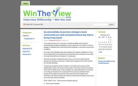 Screenshot of Blog wordpress.com - Wintheviewblog's Blog | Interview Prep & Presentation Strategies - captured Nov. 3, 2014