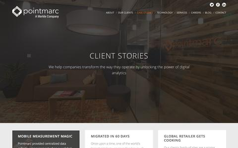 Screenshot of Case Studies Page pointmarc.com - Client Stories | Pointmarc – A Connected Analytics Consultancy. - captured Dec. 10, 2015