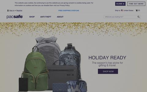 Screenshot of Home Page pacsafe.com - Pacsafe | The Best Travel & Anti-Theft Gear | 20 Years of Safe Travels - captured Dec. 7, 2018