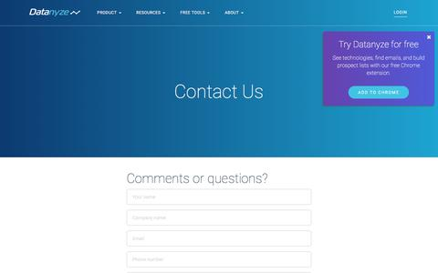 Screenshot of Contact Page datanyze.com - Datanyze | Contact Us - captured Nov. 22, 2016