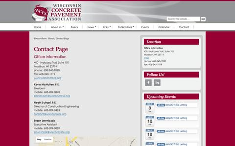 Screenshot of Contact Page Maps & Directions Page wisconcrete.org - Contact Page - captured Feb. 15, 2016