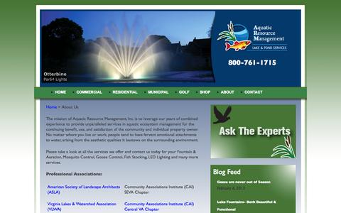 Screenshot of About Page lakemanagementbyarm.com - About our lake and pond management company in Virginia is Lake management  | Aquatic Resource Management - captured Oct. 5, 2014