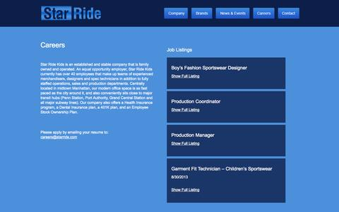 Screenshot of Jobs Page starride.com - Star Ride  - Careers - captured Oct. 7, 2014