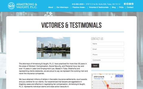 Screenshot of Testimonials Page a-vlaw.com - Armstrong and Vaught, P.L.C. | Victories & Testimonials - captured Nov. 21, 2016