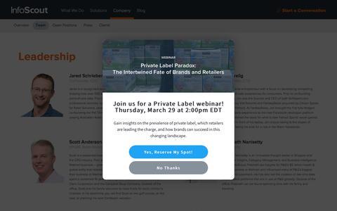 Screenshot of Team Page infoscout.co - InfoScout | Team - captured March 28, 2018