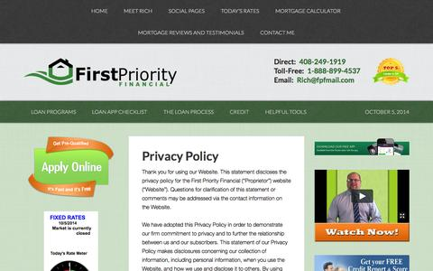Screenshot of Privacy Page firstpriorityloans.com - Privacy Policy | First Priority Financial - captured Oct. 6, 2014